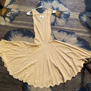 Alaia knit beige fit and flare full skirt dress